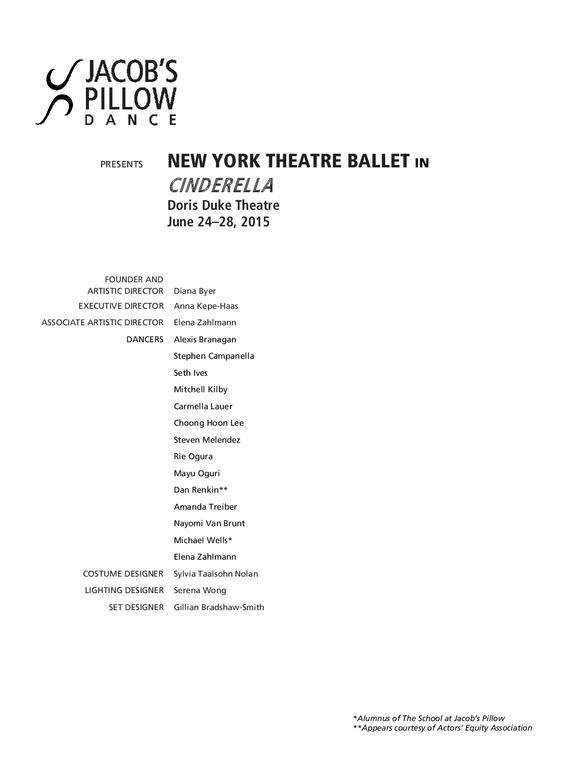 New York Theatre Ballet Performance Program 2015