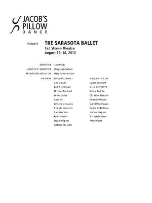 The Sarasota Ballet Performance Program 2015
