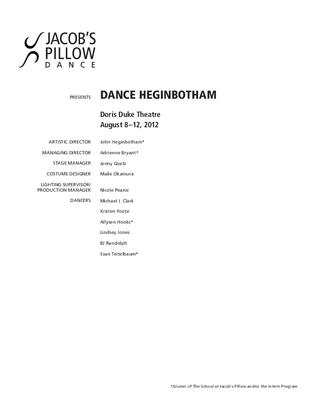 Dance Heginbotham Performance Program 2012