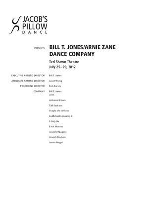 Bill T. Jones / Arnie Zane Dance Company Performance Program 2012