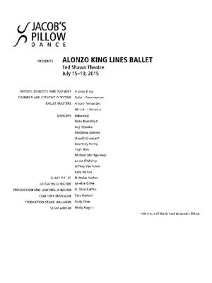 Alonzo King LINES Ballet Performance Program 2015