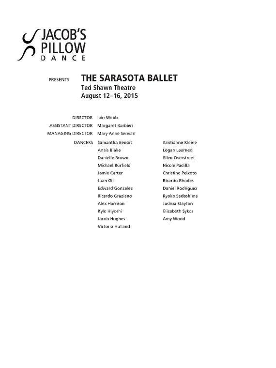 The Sarasota Ballet Performance Program 2015