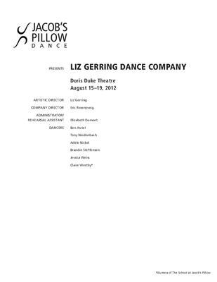 Liz Gerring Dance Company Performance Program 2012