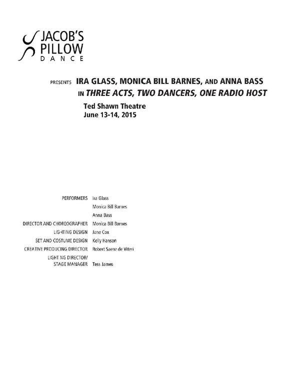 Three Acts, Two Dancers One Radio Host Performance Program 2015