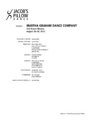 Martha Graham Dance Company Performance Program 2015