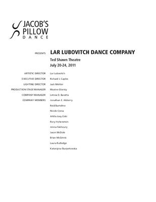 Lar Lubovitch Dance Company Program 2011
