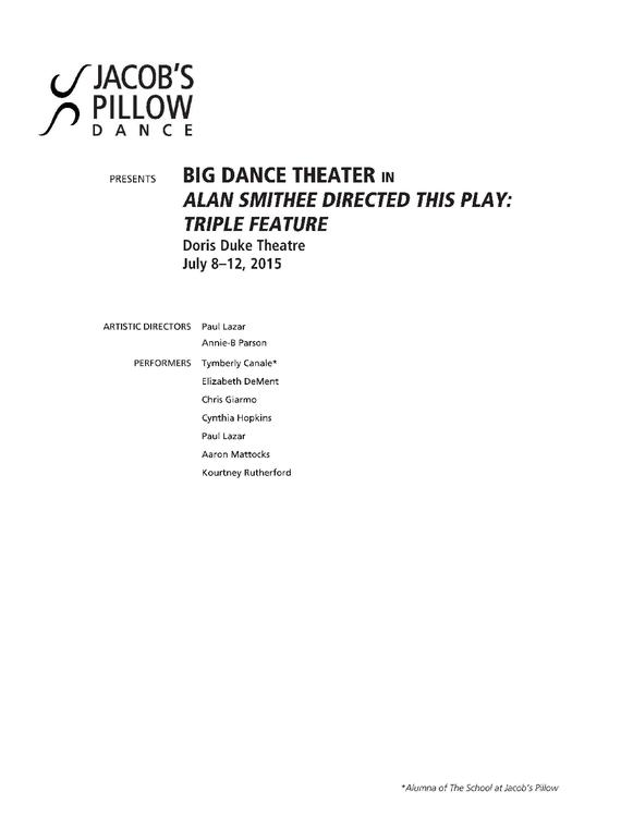 Big Dance Theatre Performance Program 2015