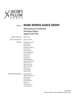 Mark Morris Dance Group Program 2011