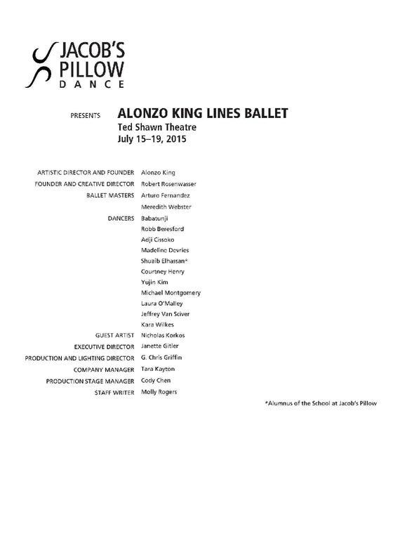 Alonzo King LINES Ballet Performance Program 2015