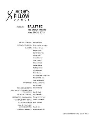 Ballet BC Performance Program 2015