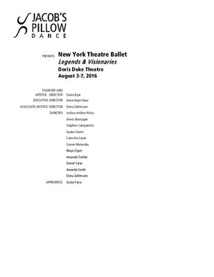 New York Theatre Ballet Program 2016