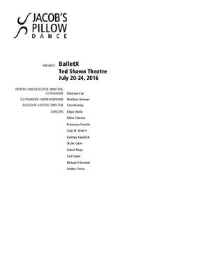 BalletX Program 2016