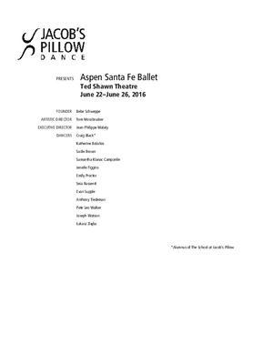 Aspen Santa Fe Ballet Program 2016