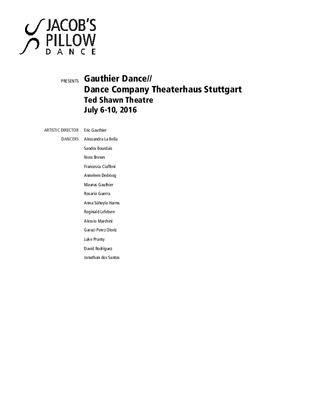 Gauthier Dance // Dance Company Theaterhaus Stuttgart Program 2016