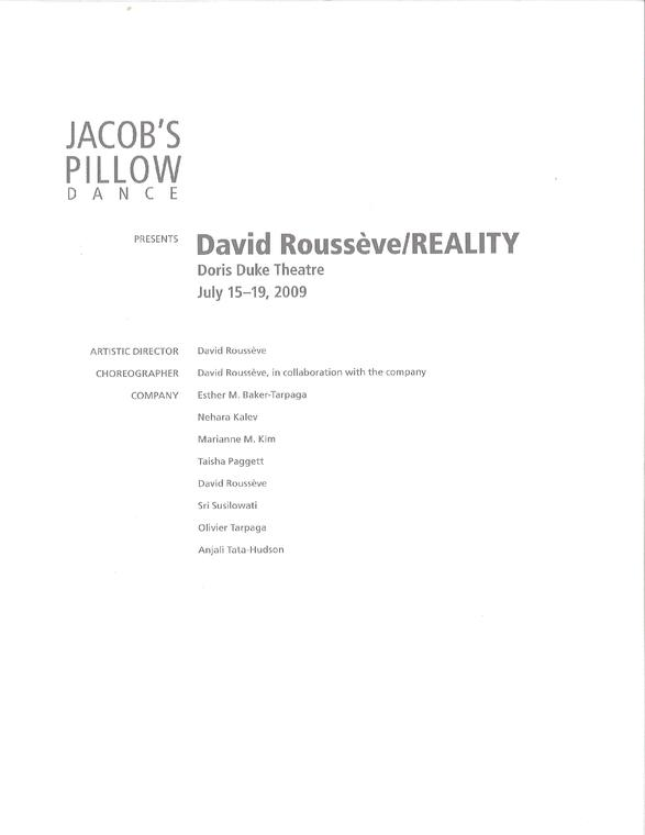 David Roussève Program 2009
