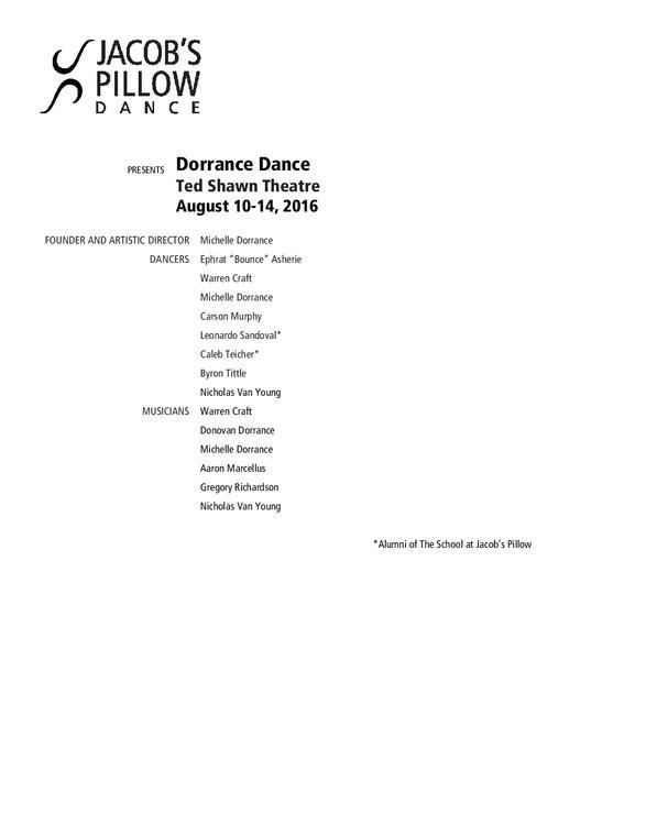 Dorrance Dance Program 2016