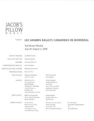 LES GRANDS BALLETS CANADIENS DE MONTRÉAL Program 2009