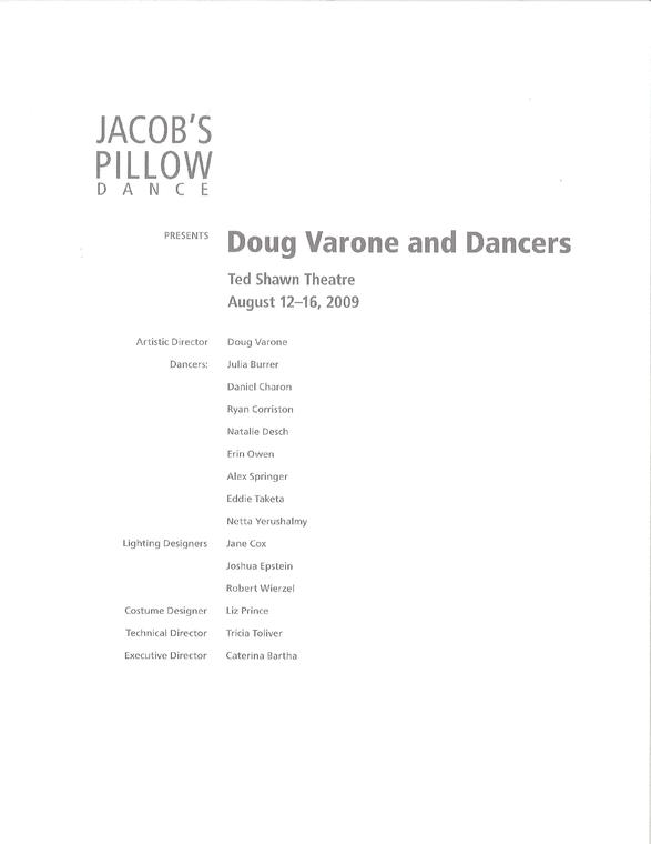 Doug Varone and Dancers Program 2009