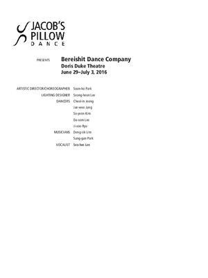 Bereishit Dance Company Program 2016