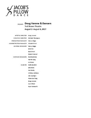 Doug Varone & Dancers Program 2017