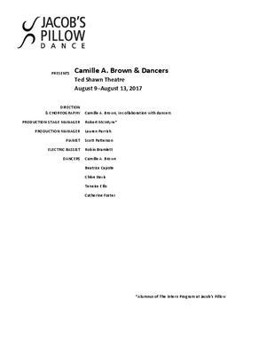 Camille A. Brown & Dancers Program 2017