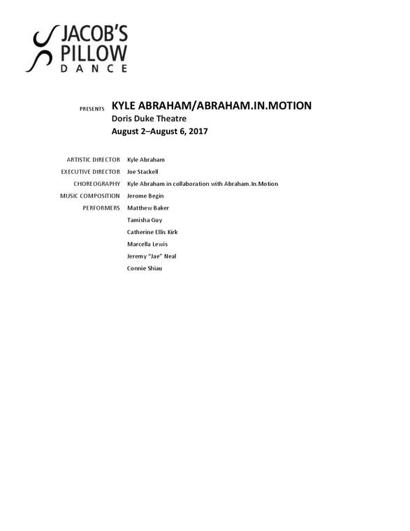Kyle Abraham/Abraham.In.Motion Program 2017