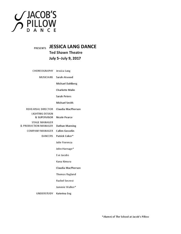 Jessica Lang Dance Program 2017