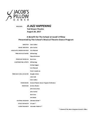 A Jazz Happening Program 2017