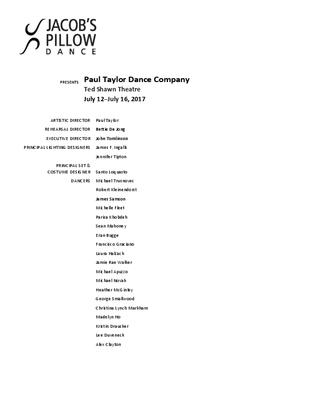 Paul Taylor Dance Company Program 2017