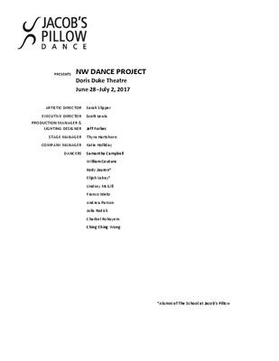 NW Dance Project Program 2017