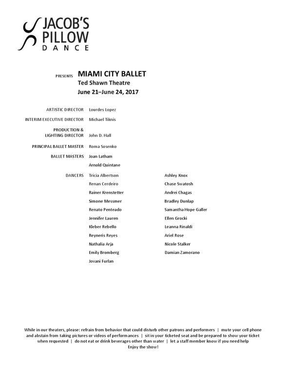 Miami City Ballet Program 2017