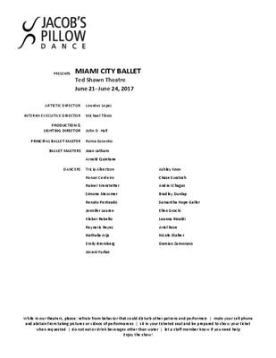 Miami City Ballet Program 2017