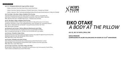 Eiko Otake: A Body at the Pillow Program 2017