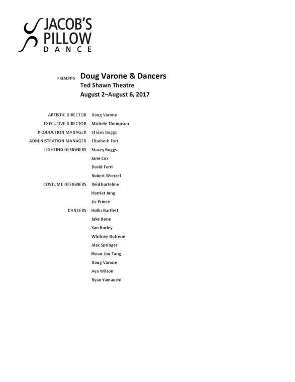 Doug Varone & Dancers Program 2017