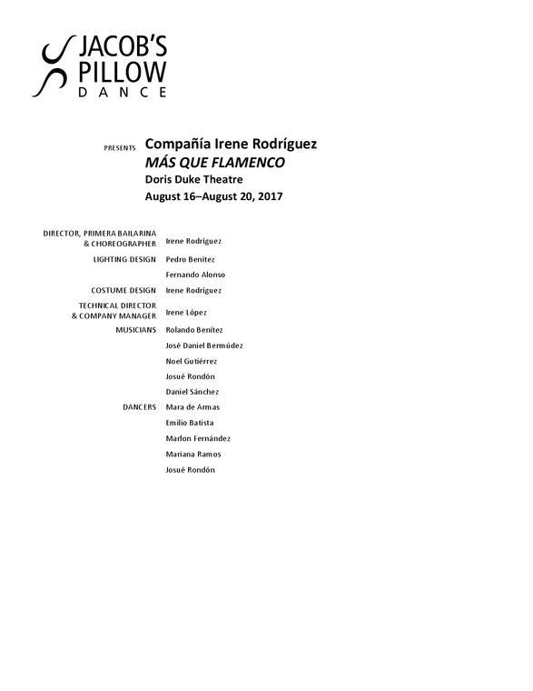 Compañía Irene Rodríguez Program 2017