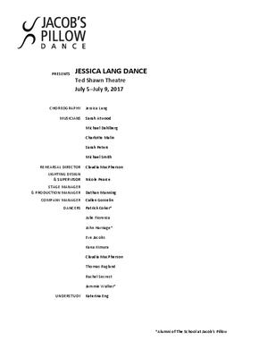Jessica Lang Dance Program 2017