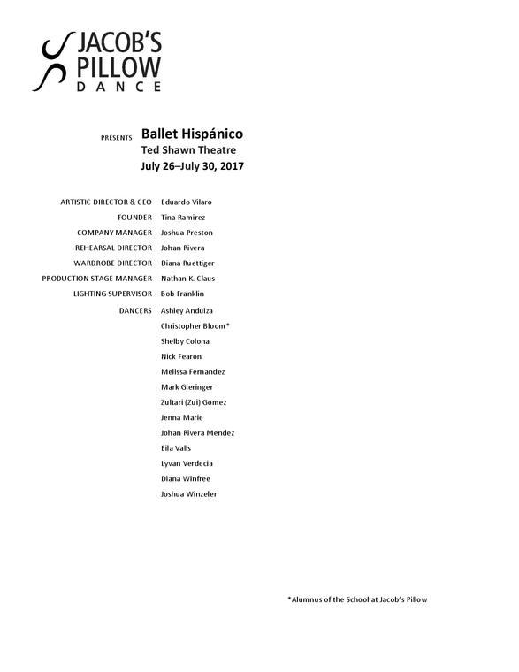 Ballet Hispánico Program 2017