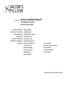 Royal Danish Ballet Program 2018