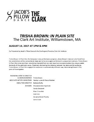 Trisha Brown: In Plain Site Program 2017