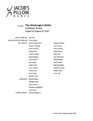 The Washington Ballet Program 2017