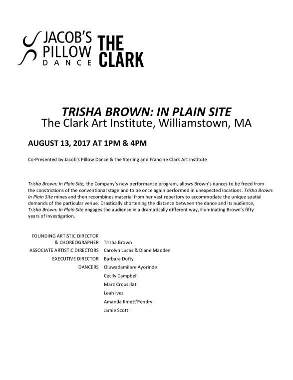 Trisha Brown: In Plain Site Program 2017