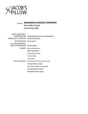 Ragamala Dance Company Program 2018