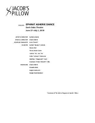 Ephrat Asherie Dance Program 2018