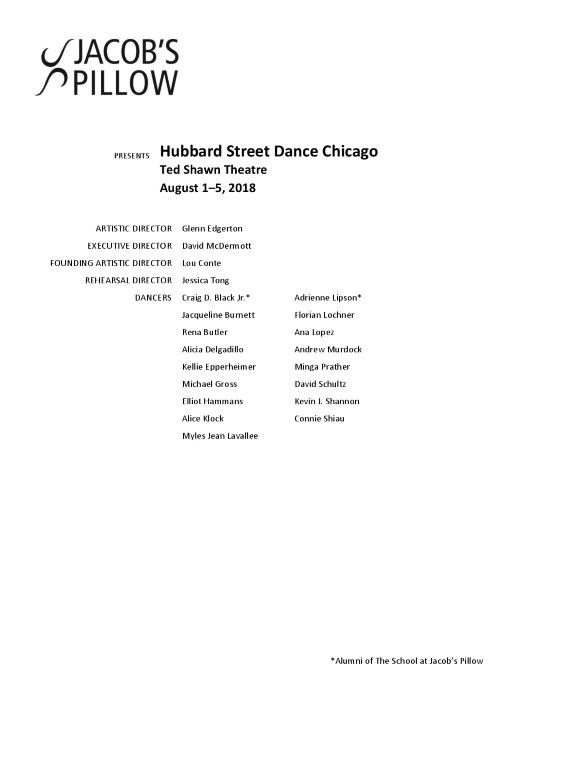Hubbard Street Dance Chicago Program 2018