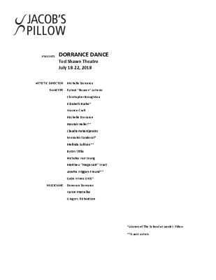 Dorrance Dance Program 2018