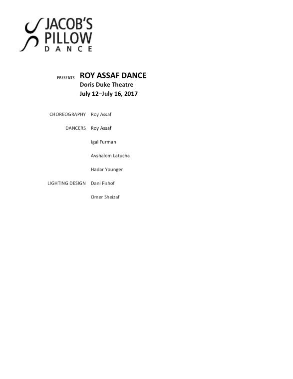 Roy Assaf Dance Program 2017