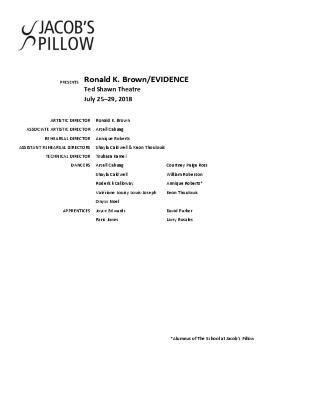 Ronald K. Brown/EVIDENCE Program 2018