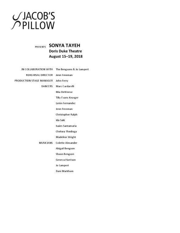 Sonya Tayeh Program 2018