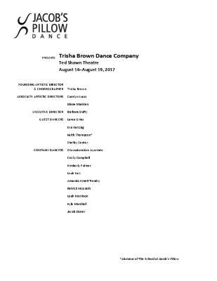 Trisha Brown Dance Company Program 2017