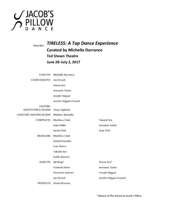 TIRELESS A Tap Dance Experience Program 2017